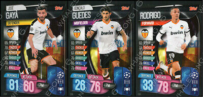 Match Attax 2019/20 19/20 Valencia Full Team Set Of 3 Cards - Complete Base Set