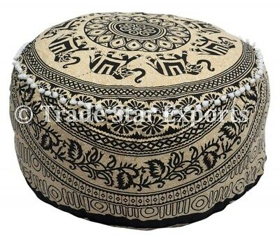 Indian Elephant Mandala Pouf Ottoman Cover Round Footstool Ethnic Floor Pouffe