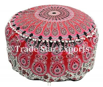 Indian Ombre Mandala Pouf Ottoman Cover Round Floor Pouffe Hippie Boho Footstool