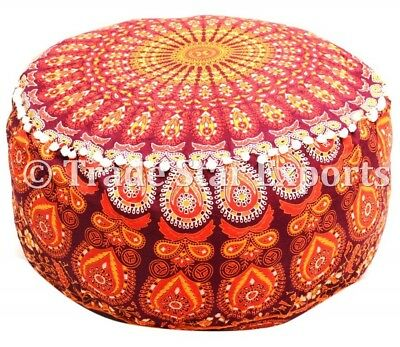 Indian Round Mandala Ottoman Pouf Ethnic Floor Footstool Hippie Pouffe Cover Art