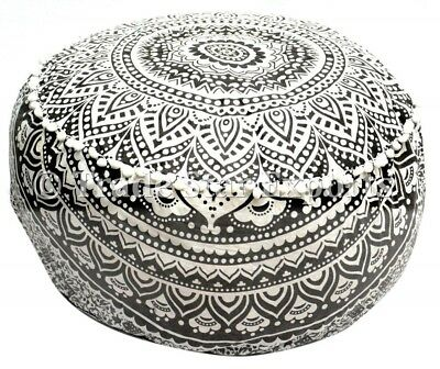 Indian Ombre Mandala Pouf Ottoman Cover Cotton Round Pouffe Floor Footstool Art