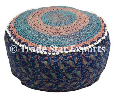 Indian Mandala Elephant Pouffe Cover Ethnic Round Ottoman Pouf Cotton Footstool
