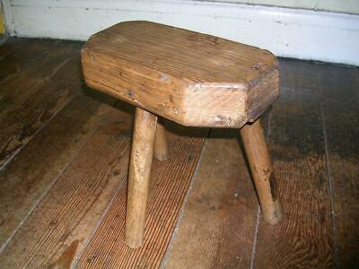 Primitive antique oak stool circa 1810.