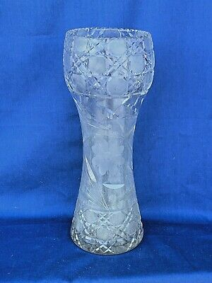 "ANTIQUE GLASS FLOWER VASE & FLORAL DESIGN HAND ETCHED RARE AMERICAN 12"" ❤️sj3j"