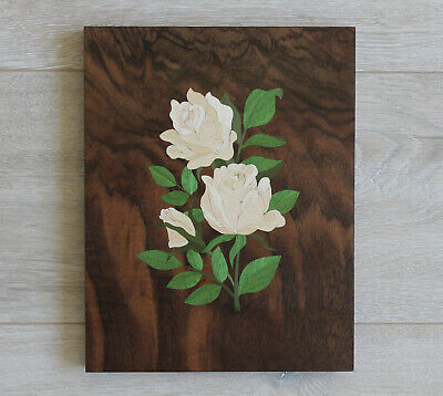 Wooden picture Inlay Roses, wood mosaic, marquetry, flowers wall decor, wood art