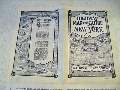 1934 Highway Map & Guide of New York~State Map~Nation Wide Map Service