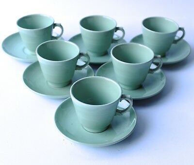 Woods Ware Beryl Coffee Cups & Saucers Set of 6 Demitasse Utility Ware 1940/50s