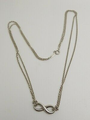 Tiffany & Co. Sterling Silver Infinity Double Chain Pendant Necklace 4N