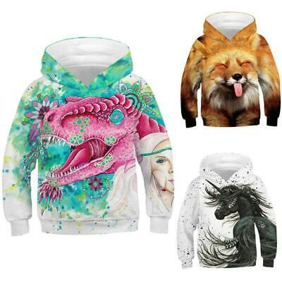Kids Boys Girls 3D Animal Print Hoodie Sweatshirt Pullover Jumper Tops Jackets