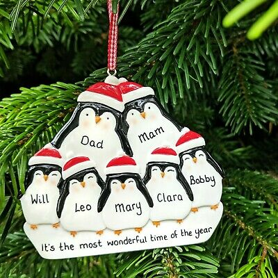 Personalised Penguin Family 2 3 4 5 6 7 Christmas Tree Decorations Xmas Baubles