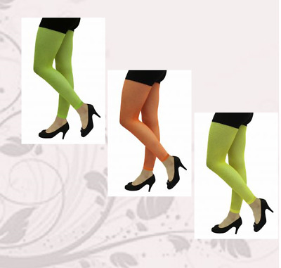 NEW Ladies Womens Neon Girls Fishnet Footless & Disco Tights Fancy Dress COSTUME
