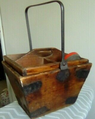 Early 1900s vintage house maids pitch pine box with carry tray