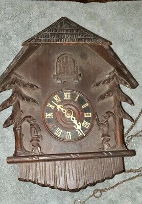 vintage Antique Black Forest Cuckoo Clock Hand Carved for  Repair/ Parts