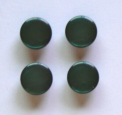 """4 Emerald Green Pearly Shank Buttons Vintage 9/16"""" 14mm"""