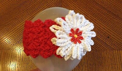 baby girl headband hand made crochet pink with white flower age 0-3 mths