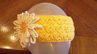 baby girl headband with white flower hand made crochet age 1 year
