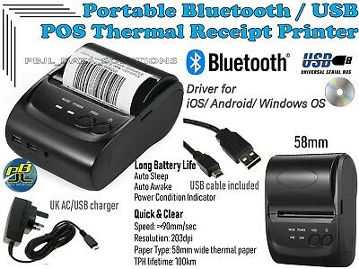 Portable wireless thermal printer, Bluetooth/USB 58mm iOS Android Windows OS NEW