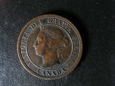 1 cent 1887 Canada large one copper penny coin Queen Victoria c ¢ F-15 Glue