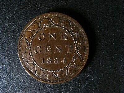 1 cent 1884 Obv. 2 Canada large one copper penny coin Queen Victoria c ¢ VF-35