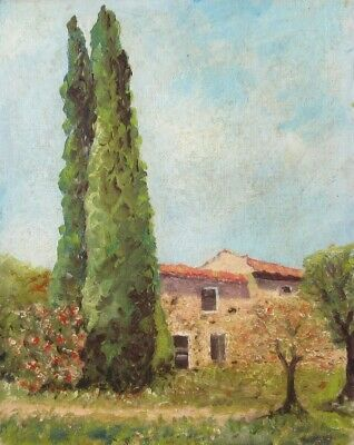 Vintage French Oil Painting, Farm, Provence, Cypress Trees, Denys Pradelle, Nice