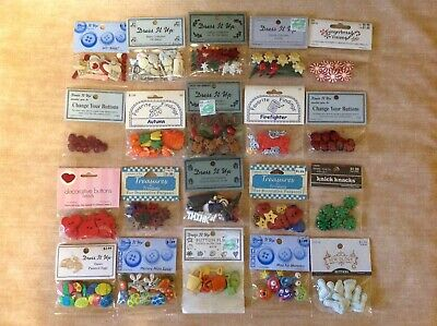 LOT OF 20 PKS. DRESS IT UP BUTTONS~~Mixed Themes~~NEW