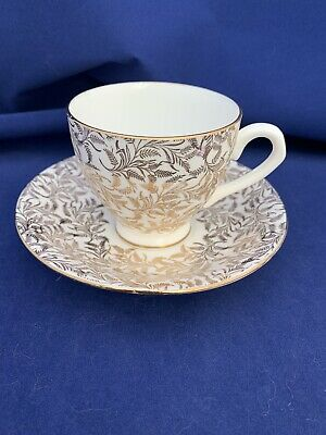 Crown Stamp Tea Cup And Saucer, Made In England, Bone China, Gold Chintz