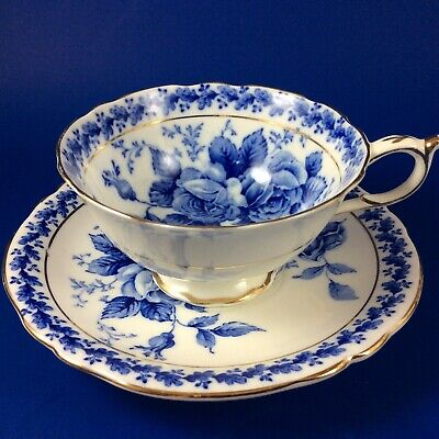 Paragon Blue  And White Roses Fine Bone China Tea Cup And Saucer