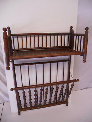 Antique Oak Magazine Book Rack Shelf Table Newspaper Victorian Ball Stick
