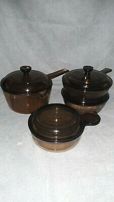 8 pc VISION CORNING WARE BROWN AMBER GLASS WITH BONUS 2PC SKILLET