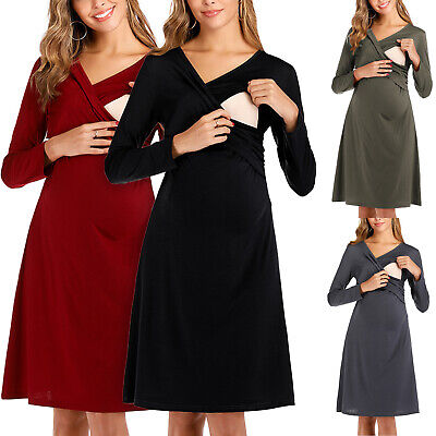 Women's Maternity Breastfeeding Pregnant Long Sleeve Nursing Midi Loose Sundress