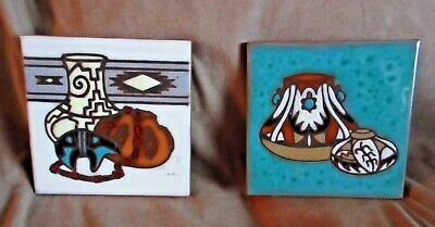 Native style (2) Vintage Cleo Teissedre Pottery Tiles Trivet/ Coasters M204