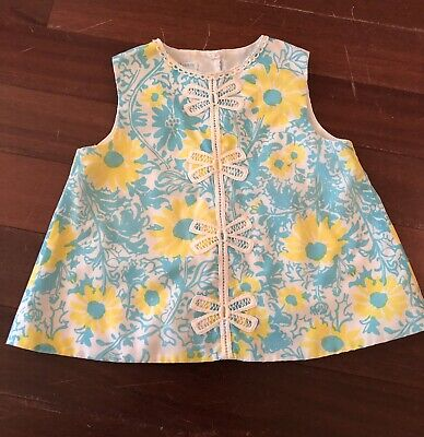 Lilly Pulitzer Vintage Baby Minnie Dress Floral Print Lace