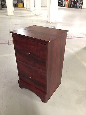 2 Drawer Filing Cabinet, mahogany colour MDF laminate, drawers work well