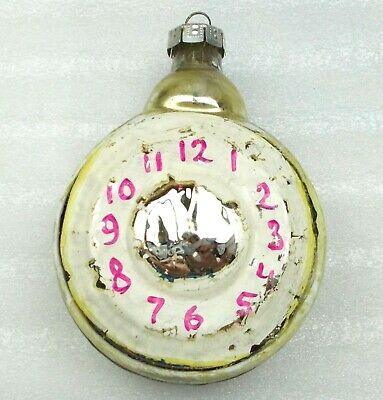 Huge Vintage USSR Russian Glass Christmas Ornament New Year Decoration Clock