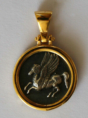 PEGASUS  HISTORY GREEK COIN MEDIUM SIZE Pendant sterling silver 925 gold plated