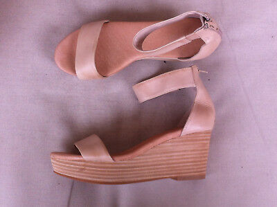 Wittner Beige Leather Open Toe Ankle Strap Wedges  Size: 35 Nn