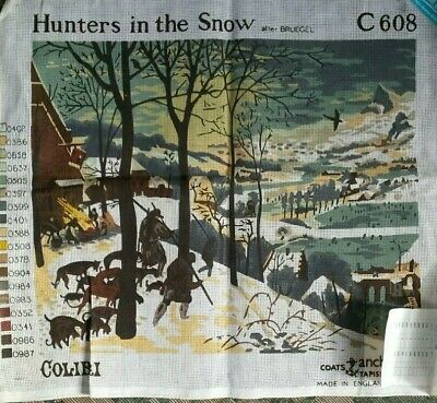 Large TAPESTRY Canvas 'Hunters in the Snow' Bruegel Coats & Anchor C608