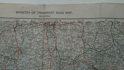 Ministry of Transport Road Map, Sheet 39 - Brighton 1923 Half inch to Mile Cloth