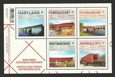 Canada 2019 Historic Covered Bridges Souvenir Sheet Of 5 Stamps Mint Mnh Unused