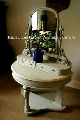 Rustic Dressing Table - Fabulous Victorian 'French Painted' Demi Lune Piece