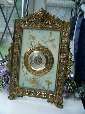 WONDERFUL TAYLOR, TUNNICLIFFE & CO ANTIQUE PORCELAIN & BRASS EASEL CLOCK c1890