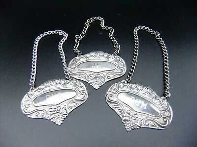 Vintage Decanter Tag Set Rum Gin and Rye Labels Silver Plated