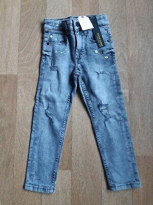 *BNWT* Next Boys Grey Super Skinny Ripped Jeans Age 3-4 Years
