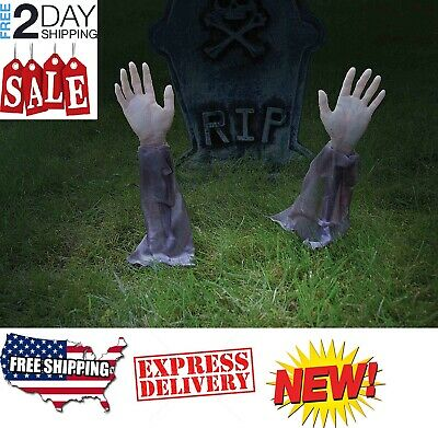 Zombie Hands & Arms W/ Lawn Stakes Outdoor Yard Halloween Spooky Scary Decor