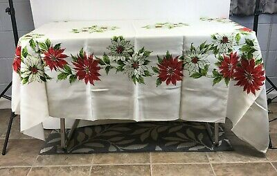 """Vintage White Red Poinsettia Christmas Floral Pattern Tablecloth 61.5"""" x 78.5"""""""