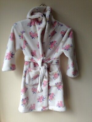 Mothercare Pink Flowers Soft Fleece Girls Dressing Gown Robe 4-6 years VGC