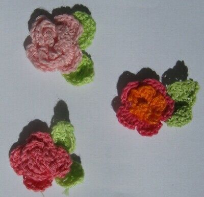 12 X Beautiful Crochet Flowers With Leaves - Various Colours. Free Postage.