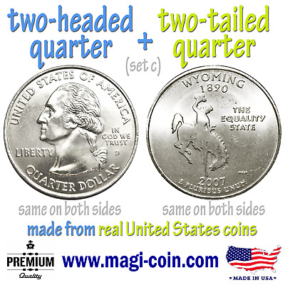heads and tails double sided flip trick coins 2 state quarters two headed tailed