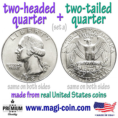 heads and tails double sided flip trick quarters 2 coins two headed eagle tailed
