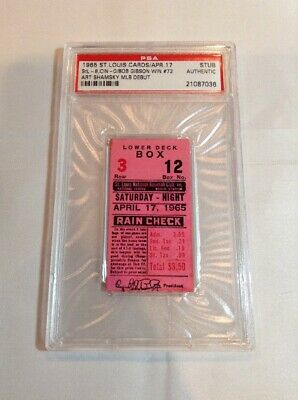 1965 St Louis Cardinals Cincinnati PSA Ticket Bob Gibson W Art Shamsky MLB Debut